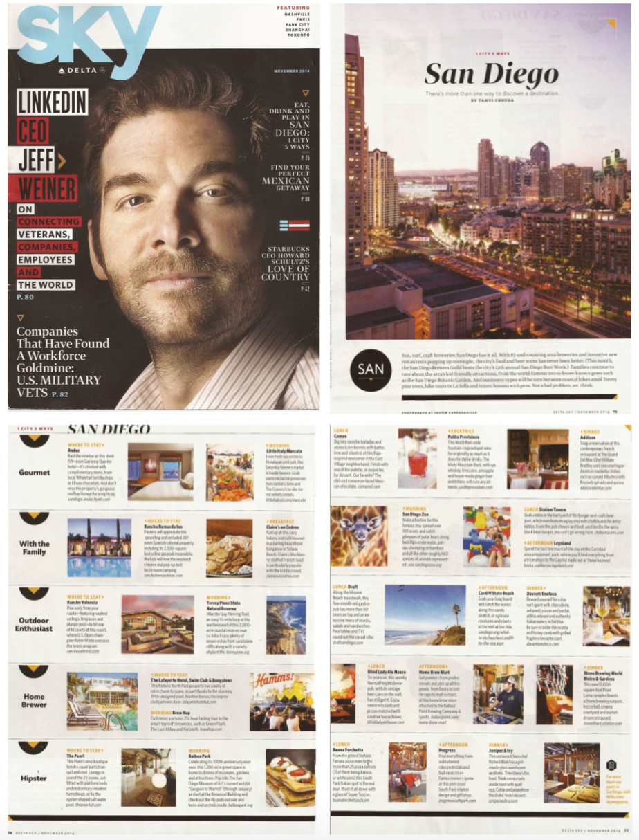 The Sky magazine cover and articles about where to eat