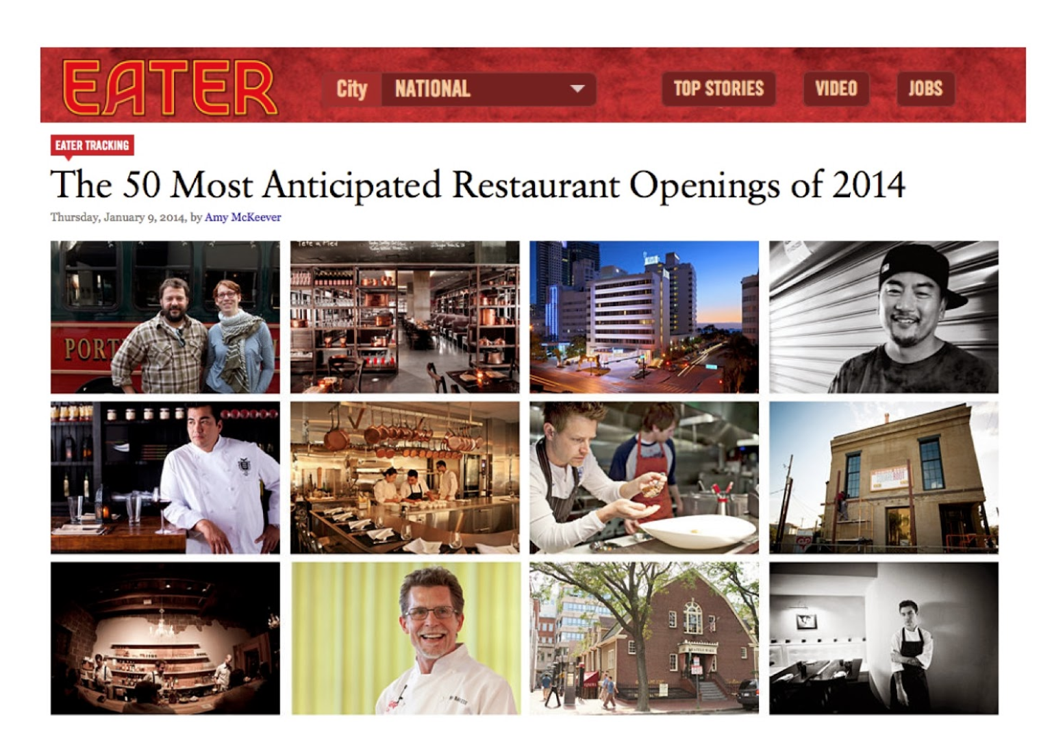 Screenshot of The 50 Most Anticipated Restaurant Openings of 2014 Webpage
